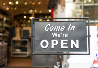 We're open business sign